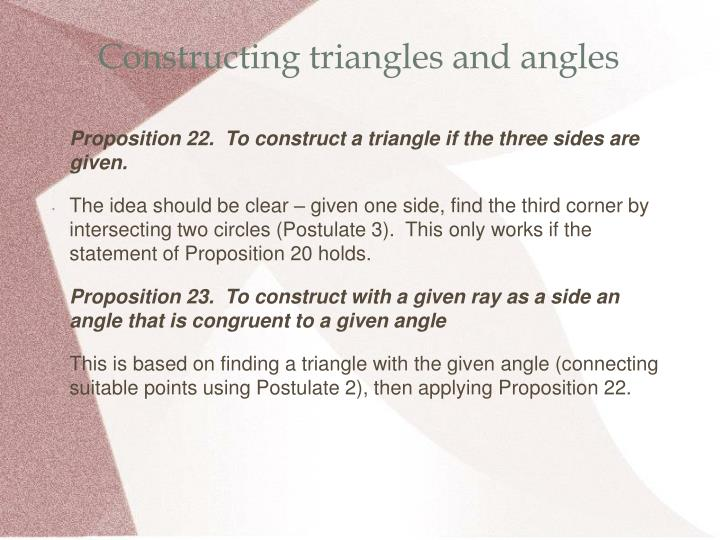 Constructing triangles and angles