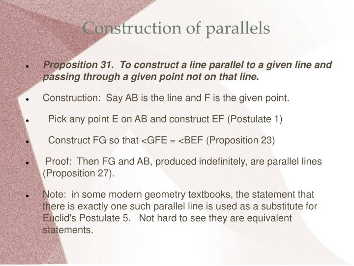 Construction of parallels