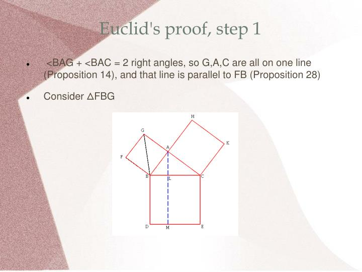 Euclid's proof, step 1