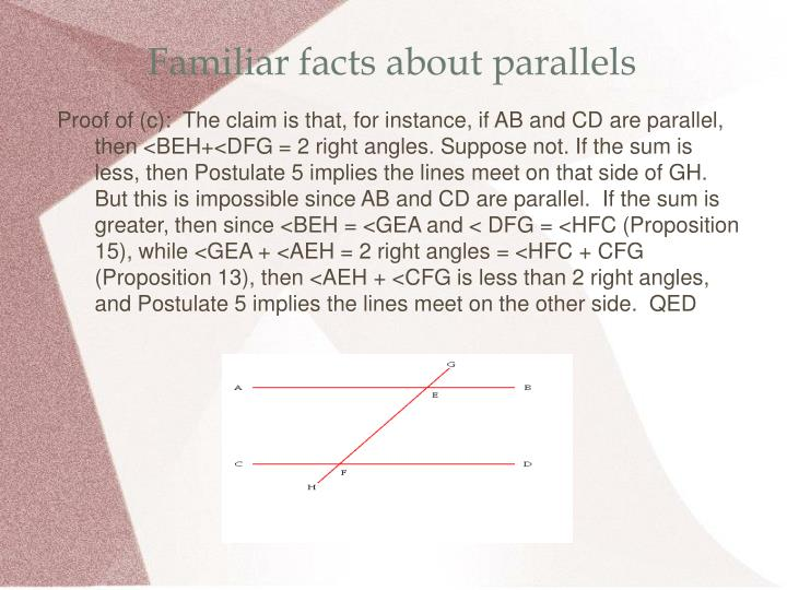 Familiar facts about parallels