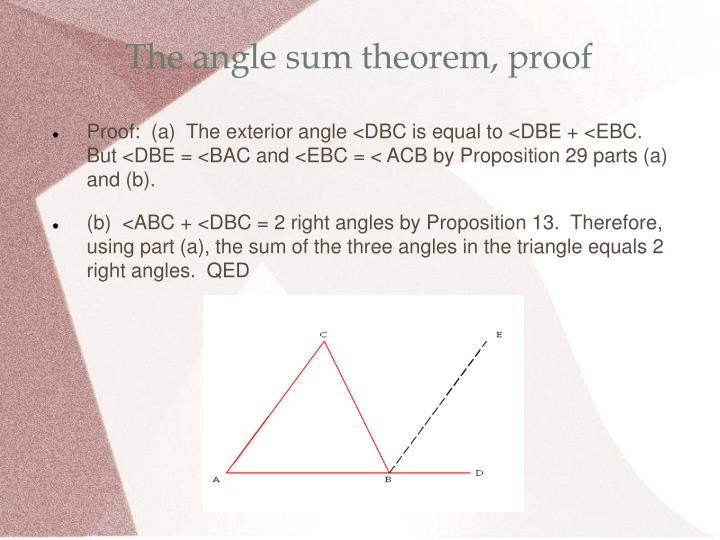 The angle sum theorem, proof