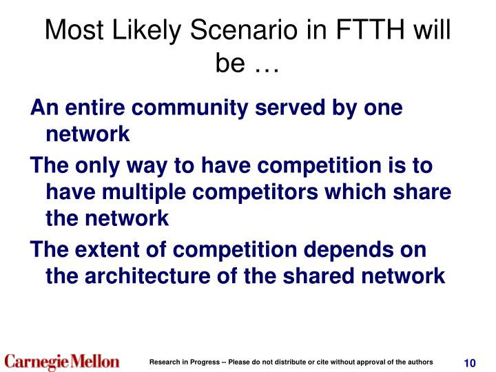 Most Likely Scenario in FTTH will be …