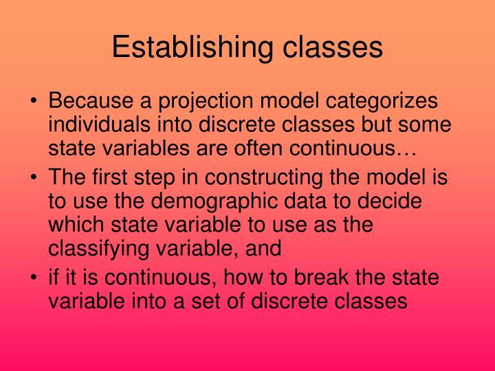 Establishing classes
