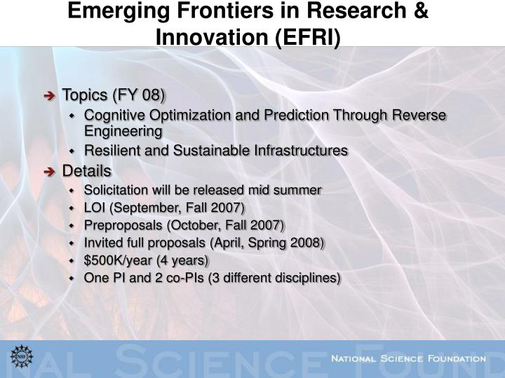 Emerging Frontiers in Research & Innovation (EFRI)