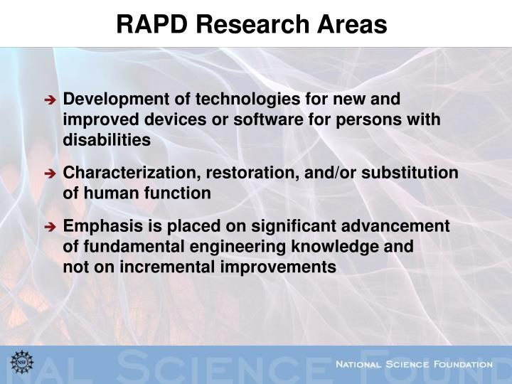RAPD Research Areas