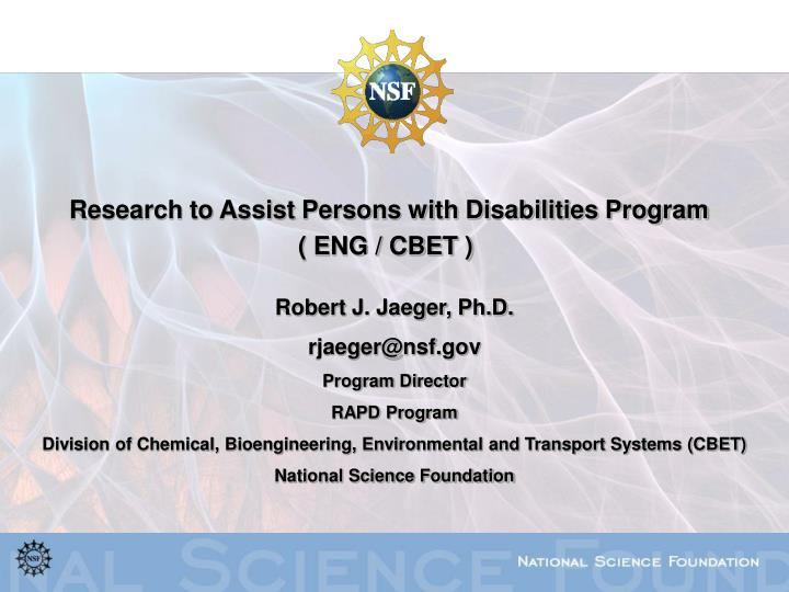 Research to Assist Persons with Disabilities Program