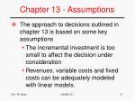 chapter 13 assumptions