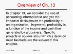 overview of ch 13