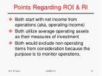 points regarding roi ri