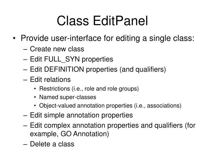 Class EditPanel