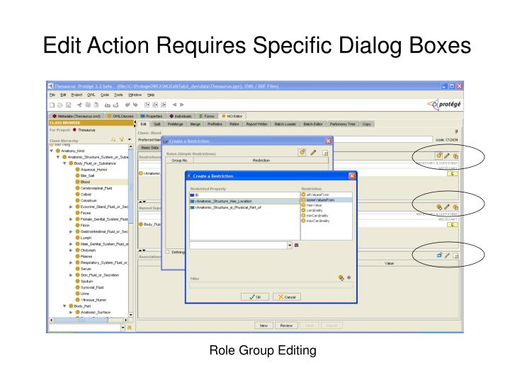 Edit Action Requires Specific Dialog Boxes