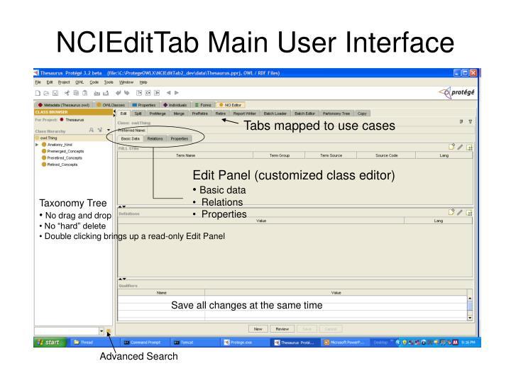 NCIEditTab Main User Interface