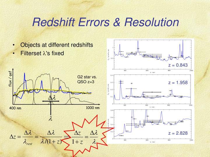 Redshift errors resolution