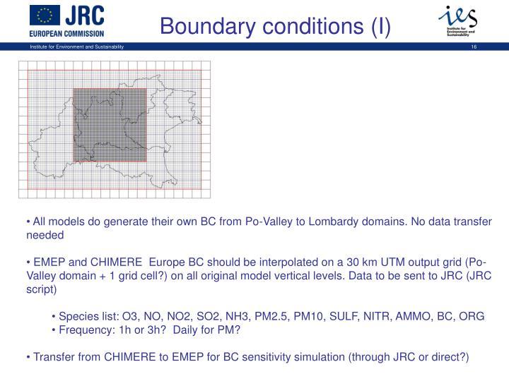Boundary conditions (I)