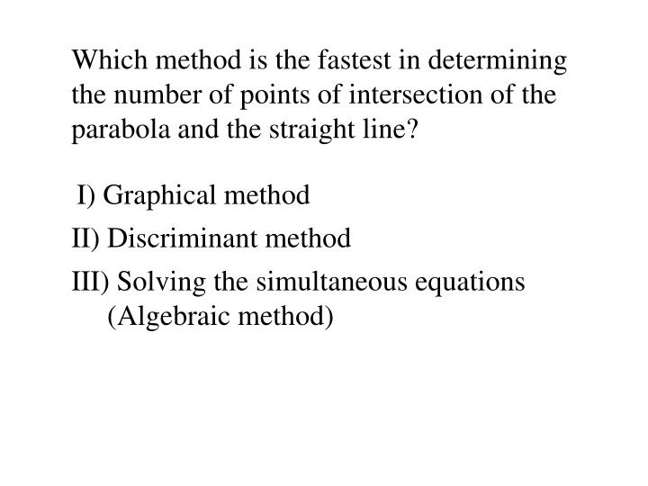 Which method is the fastest in determining the number of points of intersection of the parabola and the straight line?
