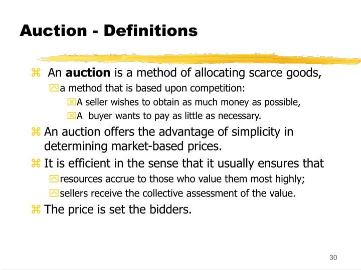 Auction - Definitions