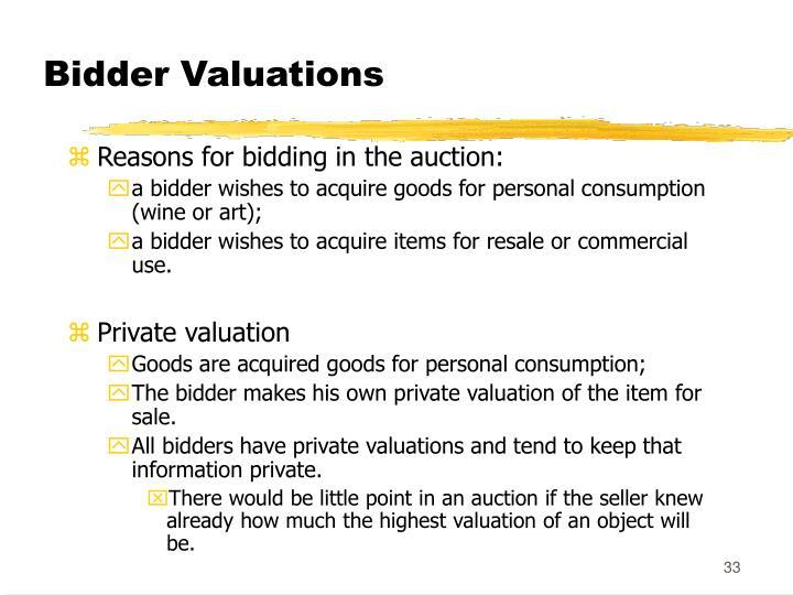 Bidder Valuations