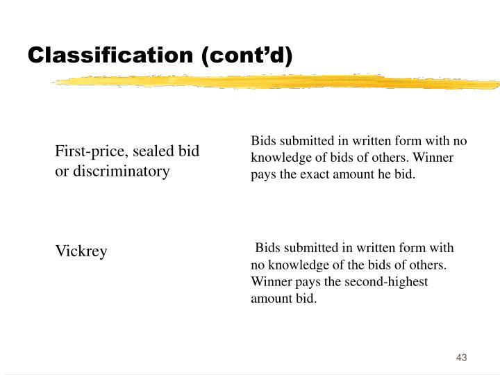 Classification (cont'd)