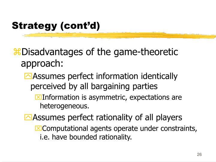 Strategy (cont'd)