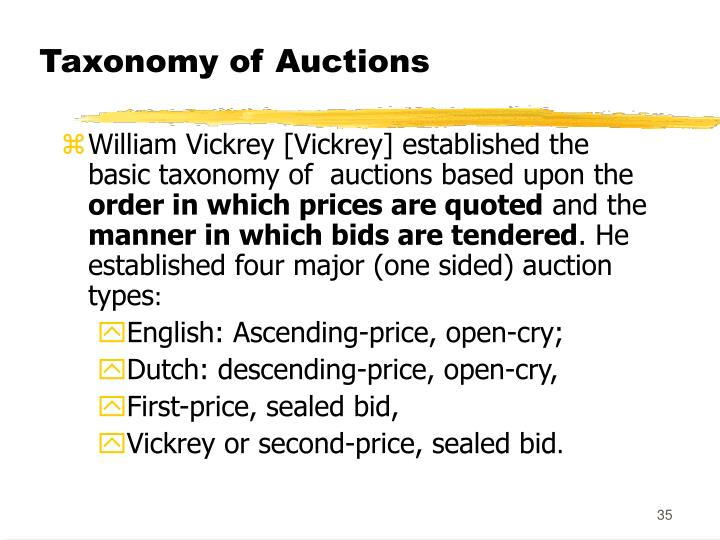 Taxonomy of Auctions
