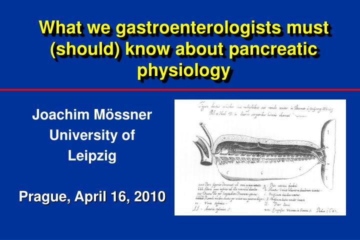 What we gastroenterologists must should know about pancreatic physiology