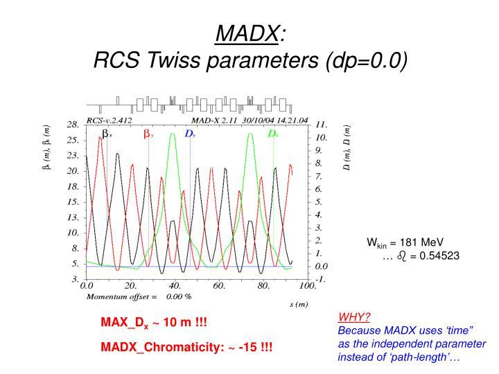 Madx rcs twiss parameters dp 0 0