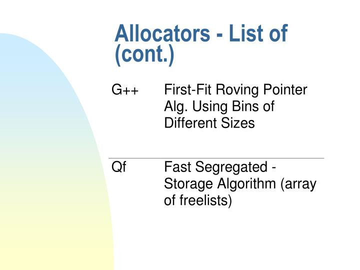 Allocators - List of (cont.)