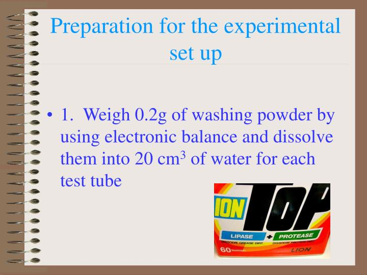 Preparation for the experimental set up