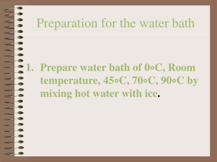 Preparation for the water bath