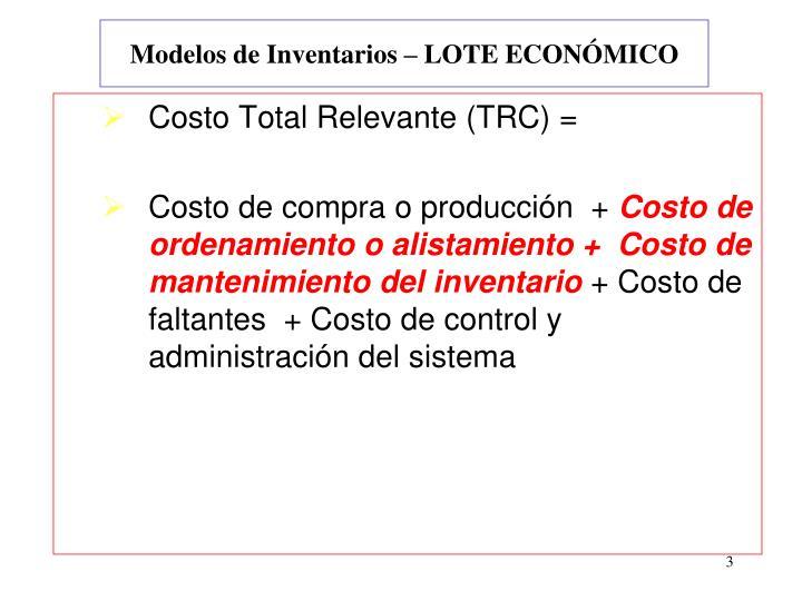 Modelos de inventarios lote econ mico
