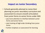 impact on junior secondary