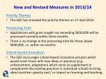 new and revised measures in 2013 14