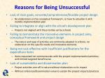 reasons for being unsuccessful