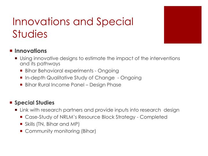 Innovations and Special  Studies