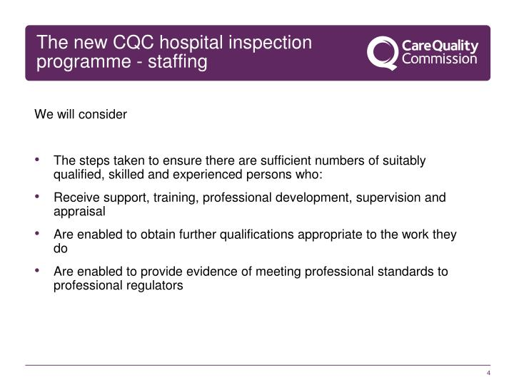 The new CQC hospital inspection programme - staffing