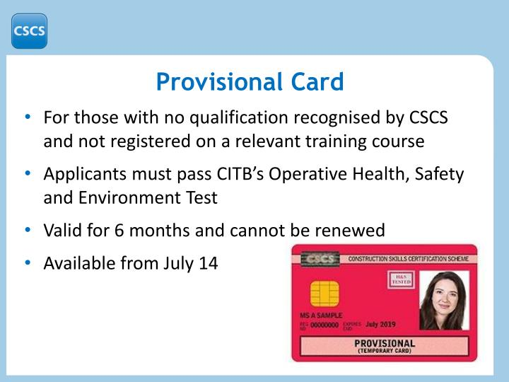 Provisional Card