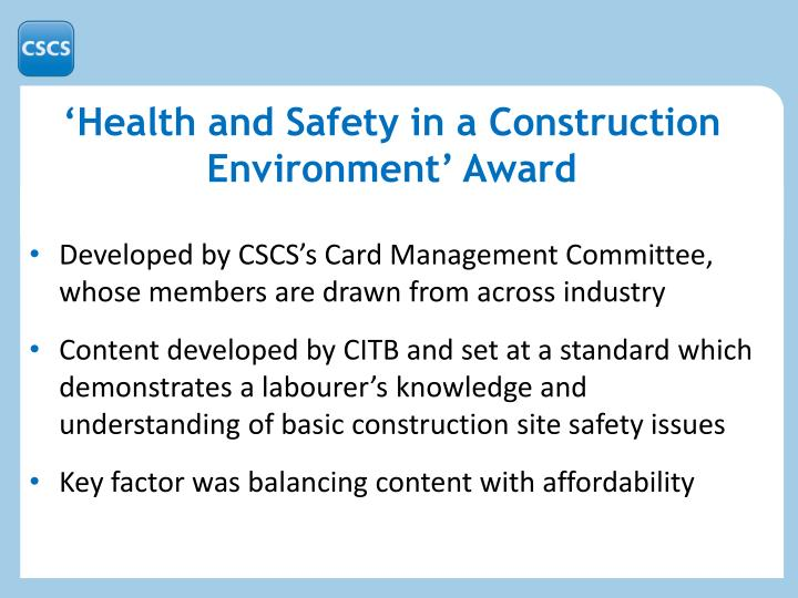'Health and Safety in a Construction Environment' Award