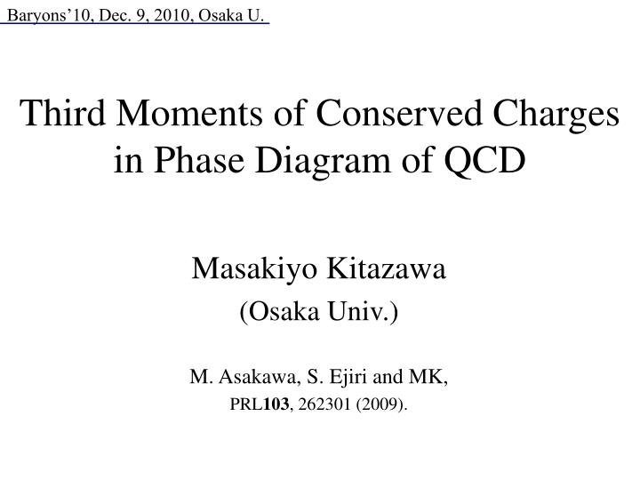 third moments of conserved charges in phase diagram of qcd n.