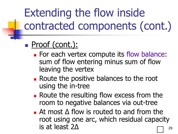 Extending the flow inside contracted components (cont.)