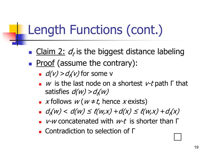 Length Functions (cont.)