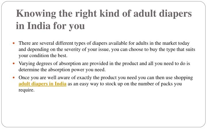 Knowing the right kind of adult diapers in India for