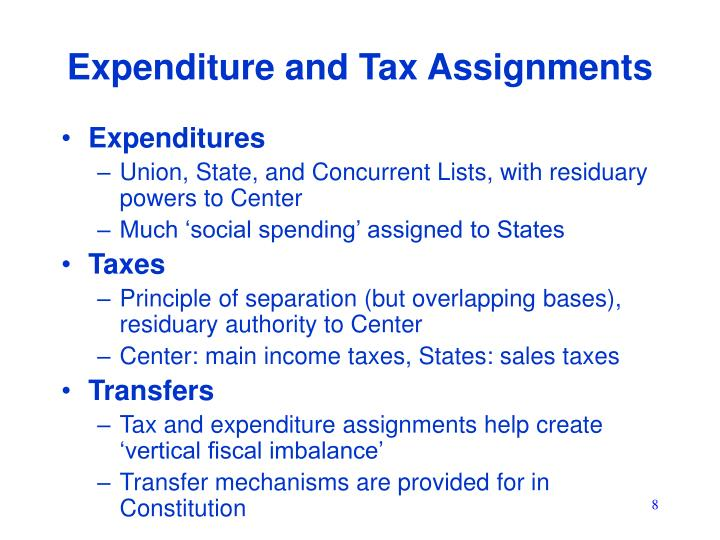 Expenditure and Tax