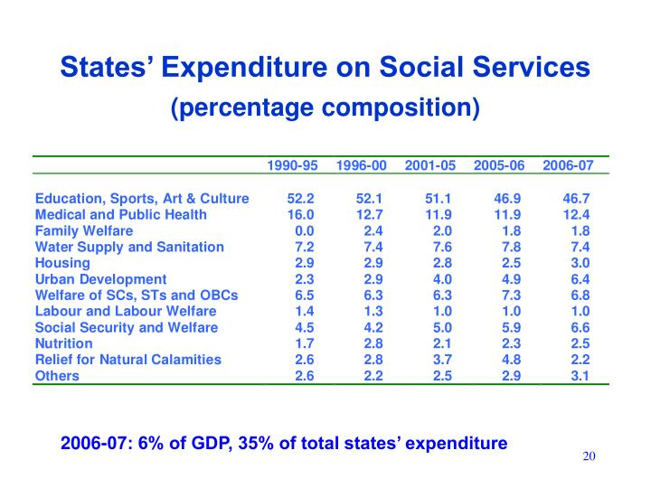 States' Expenditure on Social Services