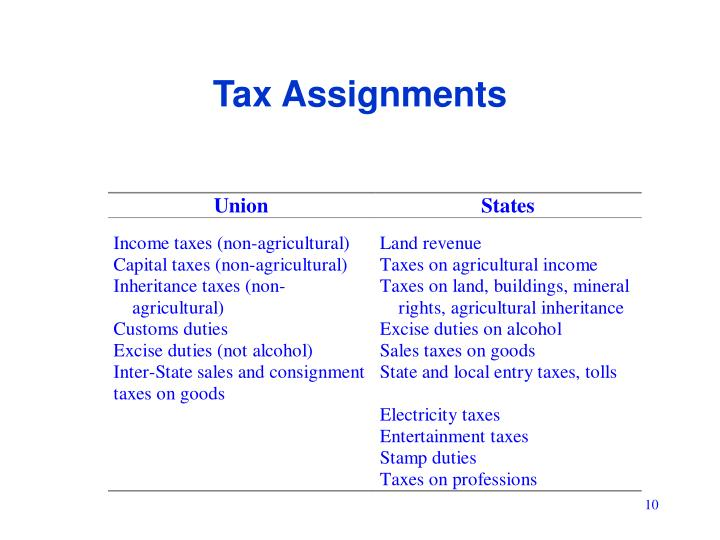 Tax Assignments