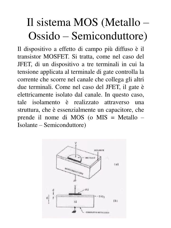 Il sistema mos metallo ossido semiconduttore