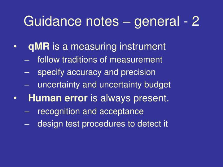 Guidance notes – general - 2