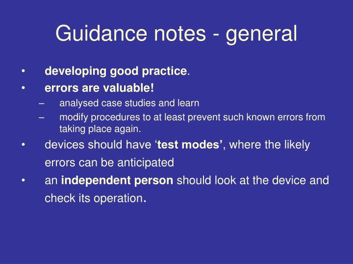 Guidance notes - general