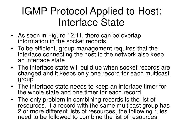 IGMP Protocol Applied to Host: Interface State