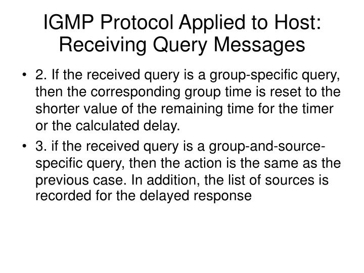 IGMP Protocol Applied to Host: Receiving Query Messages