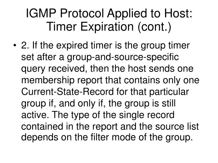 IGMP Protocol Applied to Host: Timer Expiration (cont.)